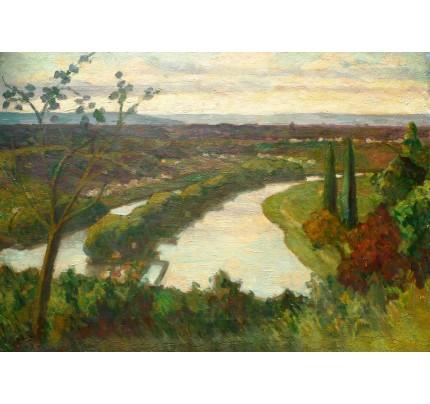 Gaston BALANDE, huile sur toile, rivière